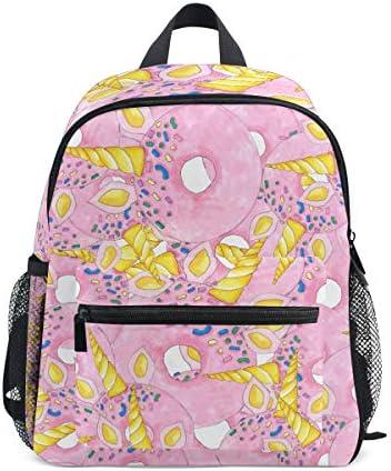 黄色のユニコーンピンクドーナツ幼児バックパックブックバッグミニショルダーバッグ1-6年旅行男の子女の子子供用チェストストラップホイッスル