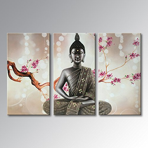 Winpeak Pure Handmade Framed Canvas Art Buddha Oil Paintings on Canvas 3 paenl Wall Decor Picture Artwork Hanging For Living Room Stretched Ready to Hang (36