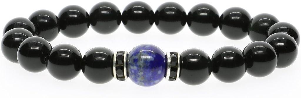 COAI® Brazalete Tibetano de Obsidiana Negra Pulsera Elástica con Cuentas