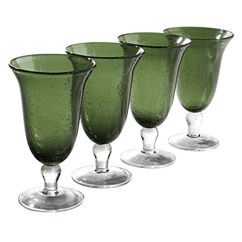 Artland Iris Footed Ice Tea Glasses, Sage, Set of (Crystal Footed Tumbler)