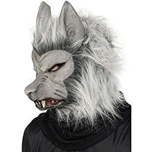 adults unisex werewolf mask with hair halloween smiffys fancy dress costume - Halloween Werewolf