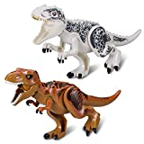 Greshare 2 Sets Large Size Lifelike Multicoloured 3D Jigsaw Puzzles T-Rex Dinosaur Building Blocks for Children (Larger Size, White + Coffee)