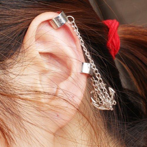 1pc Womens Anchor Double Ear Cuff Punk Earring Dangle Chain
