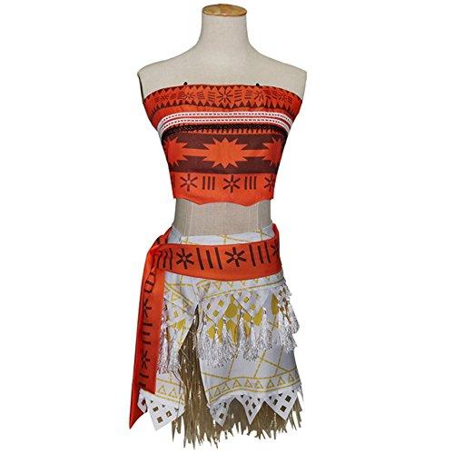 [KINOMOTO Movie Moana Girls Adventure Outfit Polynesian Princess Dress Up Cosplay Costume (100CM)] (Polynesian Girl Costume)