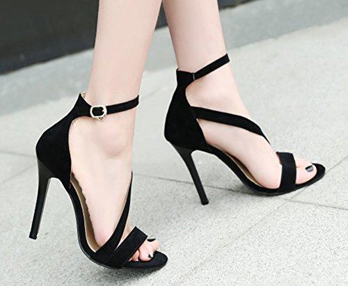 Aisun Donna Alla Moda Fibbia Open Toe Abito Stiletto Sandali Con Tacchi Alti Con Cinturini Alla Caviglia Neri