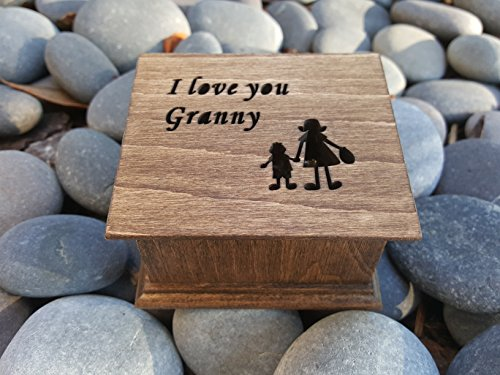 Custom made wooden music box with with I love your Granny engraved on top, with your choice of color and song, Great gift for Grandma, for Mother's day