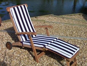 classic steamer lounger recliner chair cushion blue white