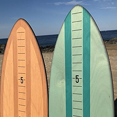 Growth Chart Art | Vintage Brights Wooden Surfboard Growth Chart | Height Chart for Kids [Boys] for Measuring Height | Children's Room Décor | Teal: Home & Kitchen