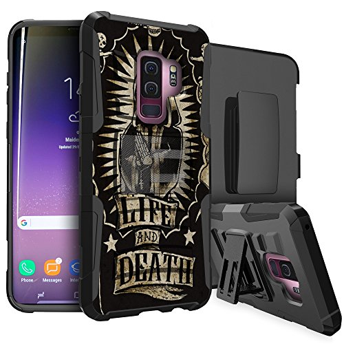 (MINITURTLE Case Compatible w/Samsung Galaxy S9 Plus (SM-G965)[Clip Armor Case] Dual-Layer Impact Kicsktand Case w/TPU Bumper [Bonus Swivel Belt Clip] - Santa Muerte)