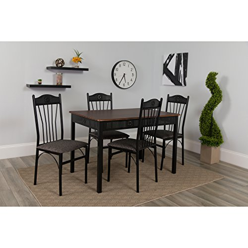 Flash Furniture Madison Square 5 Piece Dinette Set with Walnut Finish and Black Pin Dot Padded Fabric Chairs - Dinette Sets Dining Room Furniture