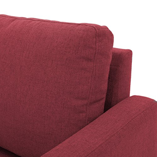 Bridger Deep Red Fabric Sectional Couch