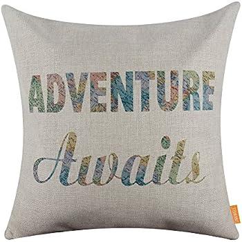 LINKWELL 18x18 inches World Map Words Adventure Awaits Throw Pillowcase Cushion Cover (CC1260)