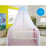 CdyBox Breathable Crib Netting Bed Curtains Canopy for Kids Mosquito Net Bedroom Decor (Blue, Mosquito net+Stand)