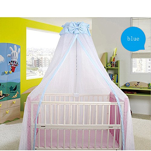 CdyBox Breathable Crib Netting Bed Curtains Canopy for Kids Mosquito Net Bedroom Decor (Blue, Mosquito net+Stand) by CdyBox