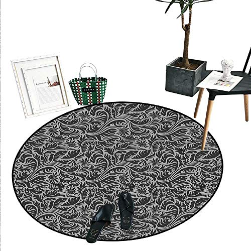 Black and Grey Bathroom Round Area Rug Carpet Pattern with Fern Leaves and Big Flowers Abstract Scroll Garden Art Non Slip Round Rugs (2'6