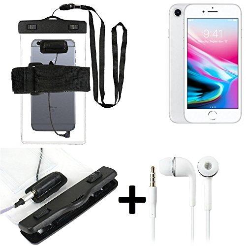 Boîtier étanche avec entrée d'écouteurs pour Apple iPhone 8 + casque inclus, transparent | Jogging Armband Case Téléphone sac de plage sous-marine - K-S-Trade (TM)