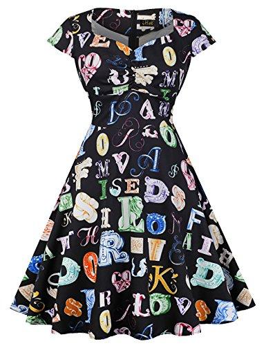 Huini Vintage Kleid 50er 60er Alinie Retro Rockabilly Swing
