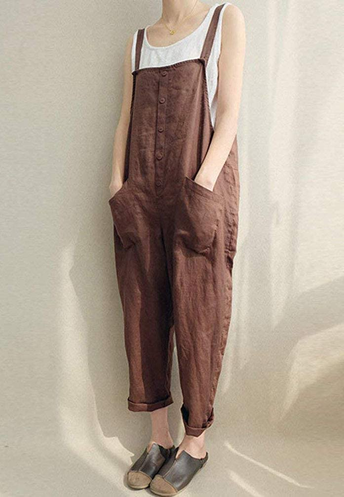 OSEING Womens Relaxed Fit Lightweight Linen Cropped Bib Overalls Baggy Jumpsuits
