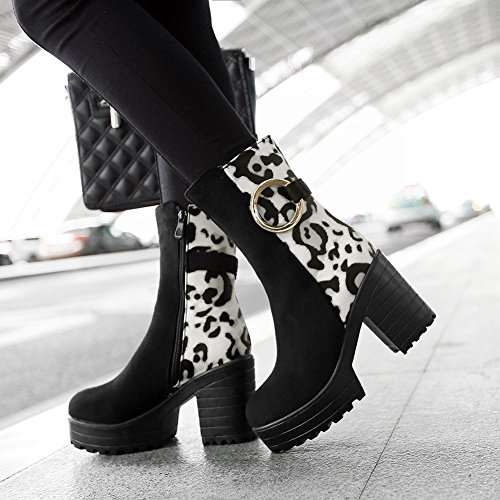 Carolbar Donna Moda Assortiti Colori Stampa Leopardo Sexy Cerniera Fibbie Piattaforma Stivali Tacco Alto Stivali Nero Bianco