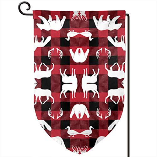 (SJFjhsdJGD Woodland Animals On Buffalo Plaid Home Garden Flag Vertical Double Sided Spring Summer Yard Outdoor Decorative 12.5 X 18 Inch)
