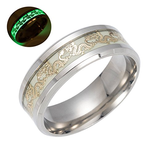Chinese Dragon Ring - TIDOO Jewelry Chinese Dragon Luminous Mens Rings for Men Gold Stainless Steel Women Rings Glow In The Dark Ring Jewelry