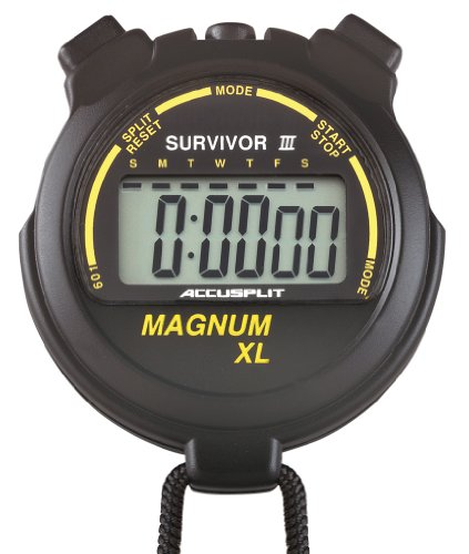 ACCUSPLIT Survivor III S3MAGXLBK Stopwatch with Clock and Extra-Large (Split Clock Extra Large Display)