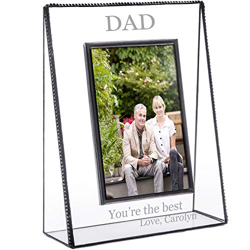 J Devlin Pic 319-46V EP505 Personalized Picture Frame for Dad Tabletop 4 x 6 Vertical Photo Engraved Glass Keepsake Gift Father