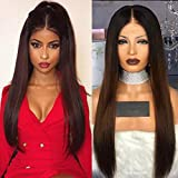 Full Lace Hair Wigs Ombre Brown #2 Color Silky Straight Virgin Human Hair Glueless Lace Front Wig 130% Density with Baby Hair for Black Women by KRN (18inch, Lace front wig)