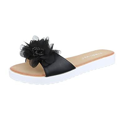 882208ae1700cf Ital-Design Pantoletten Damen Schuhe Jazz   Modern Leichte Sandalen Sandaletten  Schwarz