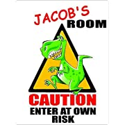 JACOB Caution enter Dinosaur Kids room door décor sign 9 x12  PLASTIC.