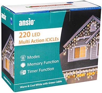 ANSIO 220 LED Bianco Freddo e Bianco Caldo Tenda luminosa, Luci natalizie per interni e esterni,con 8 modalità luce/timer, Memoria, trasformatore incluso, 7,5 m lunghezza-Cavo Verde