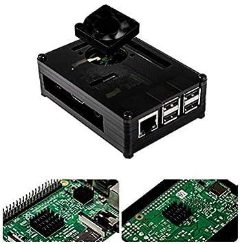 Para Raspberry Pi 3 b+ Caja + Cargador con Conector ON / OFF + 3 x Disipador + Ventilador Compatible con Carcasa Raspberry Pi 3 2 model b+: Amazon.es: Electrónica