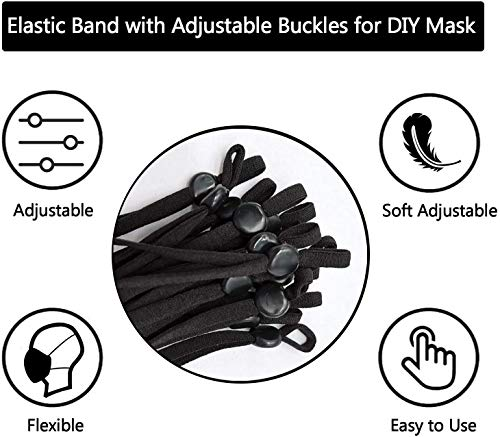 100 Pieces Sewing Elastic Cord with Adjustable Buckle for Face Mask, High Stretchy Earloop Fabric Tie Lanyard Rope for DIY Sewing & Crafts (Black)