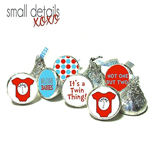 TWIN THING! Baby Shower kiss stickers - Dr. Seuss inspired candy stickers ~ fits Hershey's Kisses Chocolate - Stickers Only - It's Twins! (108 peel&stick stickers)