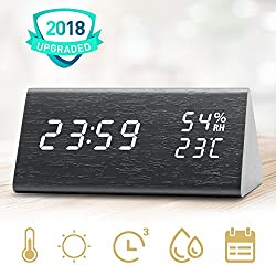 Digital Alarm Clock, Three Alarms, 12/24 Time Display Format, 3 Levels Adjustable Brightness Dimmer, Date Temperature and Humidity LED Display Woodgrained Clock for Bedrooms