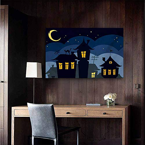 duommhome Halloween Simulation Oil Painting Old Town with Cat on The Roof Night Sky Moon and Stars Houses Cartoon Art Decorative Painted Sofa Background Wall 35
