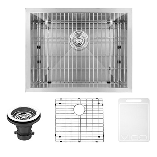VIGO 23 inch Undermount Single Bowl 16 Gauge Stainless Steel Kitchen Sink with Grid and Strainer