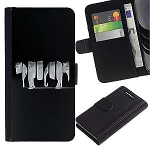 All Phone Most Case / Oferta Especial Cáscara Funda de cuero Monedero Cubierta de proteccion Caso / Wallet Case for Sony Xperia Z1 Compact D5503 // Animal Elephant Black Grey Art