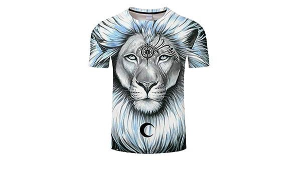 Lion Galaxy by 3D Print Hombres Mujeres Verano Camiseta Casual ...