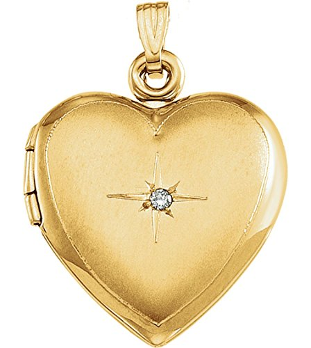 14k Yellow Gold Diamond Heart Locket (.02 Ct, GI Color, I3 Clarity) by The Men's Jewelry Store (for HER)