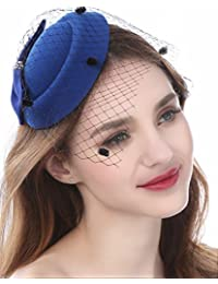 Fascinator Hats for Women Pillbox Hat with Veil Headband and a Forked Clip  Tea Party Headwear a81b046309d