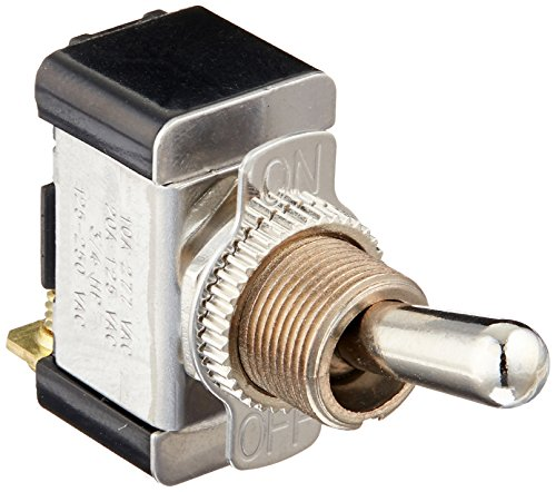 - Morris 70070 Heavy Duty Toggle Switch, Screw Terminals with On-Off Plate, SPST, 1 Pole