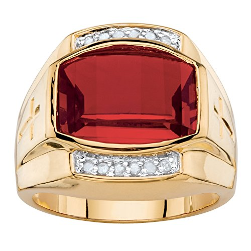 Men's Lab Created Red Ruby and Diamond 18k Yellow Gold-Plated Ring Size 12