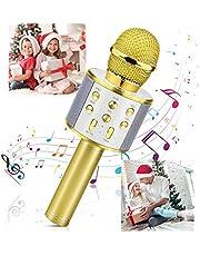 Micrófono Inalámbrico Karaoke Bluetooth, Fotgear Portátil Inalámbrico Karaoke Bluetooth Dispositivo de Mano con Micrófono y Altavoz para niños, niñas Canta Partido Musica, compatible con Teléfono, PC, Tabletas(Oro)