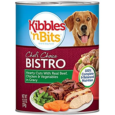Kibbles 'N Bits Chef'S Choice Bistro Hearty Cuts With Real Beef, Chicken & Vegetables In Gravy Wet Dog Food, 13.2 Ounces (Pack Of 12)