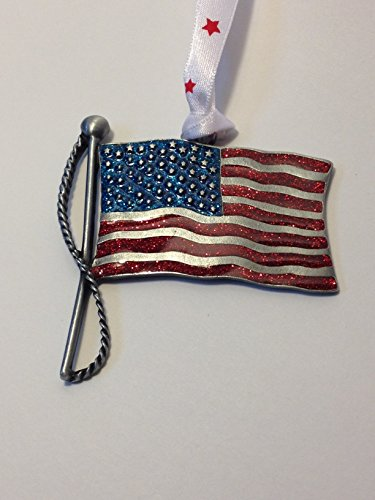 Genuine Pewter American Flag Hanging Decorative (Lighthouse Pewter Ornament)