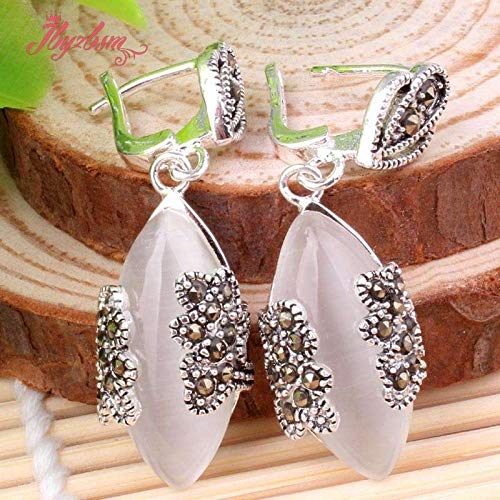 - 10X20mm Oval Cat Eye Opal Agates Stone Beads Trendy Fashion Dandle for Woman Craft Vintage Earring 1 Pair (Cat Eyes)