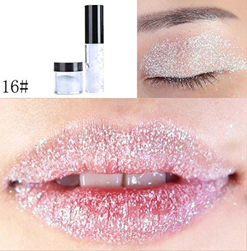 ChainSee Long-lasting Glitter Lip Gloss Powder Eyeshadow Lipstick Sparkly Shimmer Makeup Pigment Eye shadow Powder (16#)