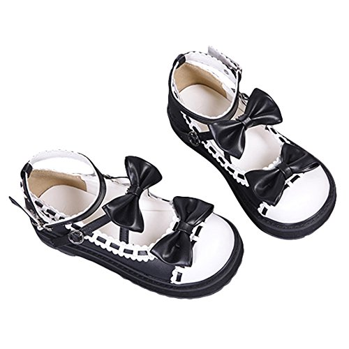 a164691219d6 Japanese Sweet Lolita Cosplay Round Toe Bowtie Mary Jane Flat Shoes ...