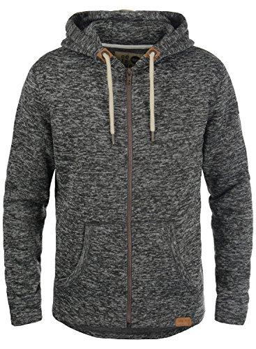 Lining Dark Fleece Jacket Leki 8288 Grey Hooded Mens Solid Hood Zip Melange Soft Fleece z16wvZ